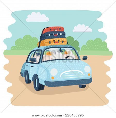 Vector Cartoon Illustration Of Travel Car Parking In The Countryside. Baggage For Family Trip. Lugga