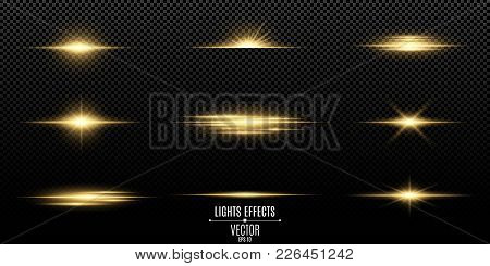 Set Of Flashes, Lights And Sparks. Abstract Golden Lights Isolated On A Transparent Background. Brig