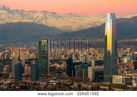 Santiago, Region Metropolitana, Chile - June 01, 2013: Skyline Of Modern Buildings At Financial Dist