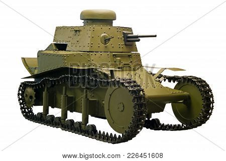 Old Small Tank Of The Beginning Of Xx Century With Riveted Armor, Isolated