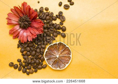 Yellow Background With Scattered Coffee Beans, Red Flower And Orange Slice, Copy Space, Top View. Fo