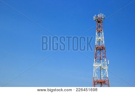 Signal Transmission Tower With Blue Sky.receiver Tower,