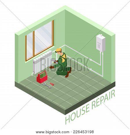 Home Repair Isometric Template. Installing Thermal System. Repairer Is Fixing Radiator. Builder In U