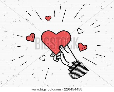 Saint Valentine Day Vector Illustration In Retro Style With Sunburst And Red Hearts Isolated On Whit