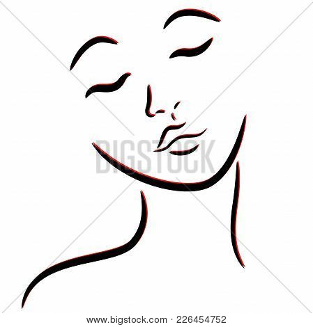 Abstract Female Face With Closed Eyes, Hand Drawing Vector Outline In Black And Red Colors