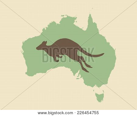 Detailed And Accurate Illustration Of Kangaroo And Australia Vintage Style