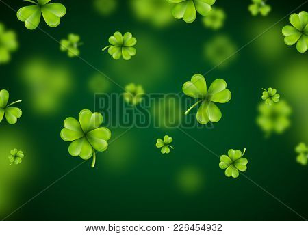 Saint Patricks Day Background Design With Green Falling Clovers Leaf. Irish Lucky Holiday Vector Ill