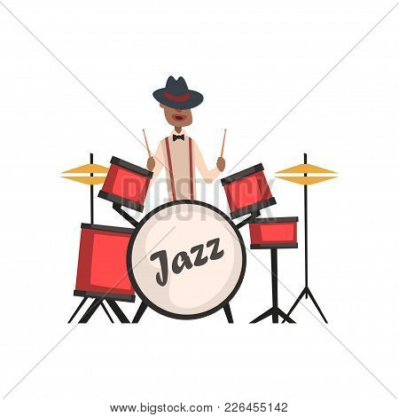 African American Jazz Musician Playing On Drums Vector Illustration Isolated On A White Background