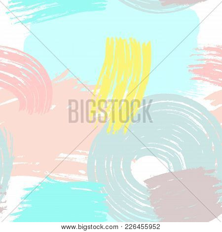 Abstract Trendy Seamless Pattern. Watercolor, Sketch, Paint, Brush Strokes. Drawn By Hand. Modern Ve