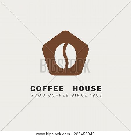 Minimalistic Vector Logo For Coffee Shop. Flat Logotype With Coffee Bean And Stylized House. Negativ