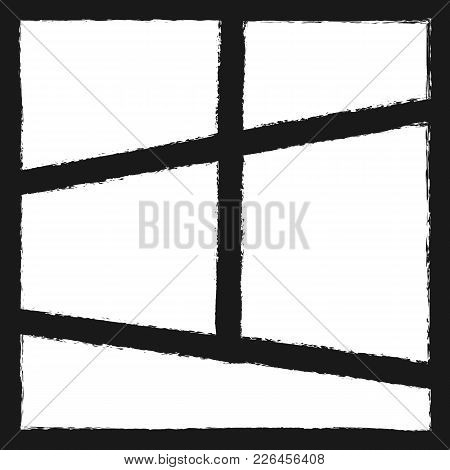 Grunge Photo Collage. Square Background With Frames Painted With Brush. Watercolor, Sketch, Paint. V