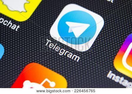Sankt-petersburg, Russia, February 9, 2018: Telegram Application Icon On Apple Iphone X Screen Close