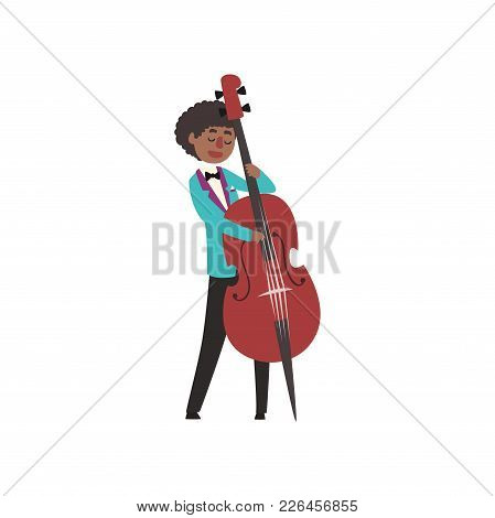 African American Jazz Musician Wearing Retro Elegant Suit Playing Cello Vector Illustration Isolated