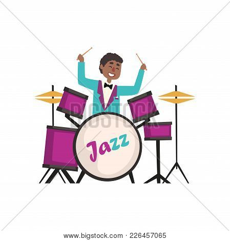 African American Jazz Musician Wearing Retro Elegant Suit Playing On Drums Vector Illustration Isola