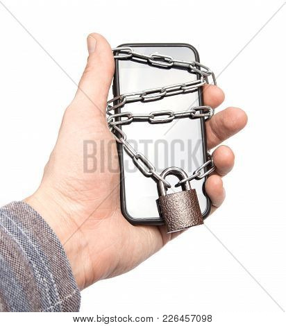 Mobile Phone Is Password Protected. The Phone Is Wrapped Around The Chain And Locked To The Lock By