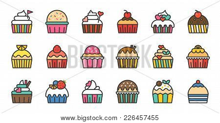 Set Of Cute Fancy Cup Cake, Filled Outline Icon