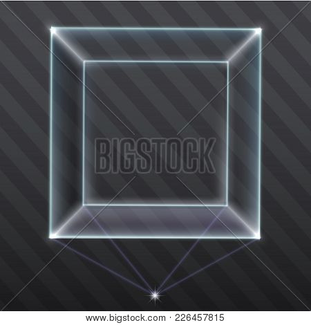 The Exhibition Showcase A Hologram. Cube Of Plasma. Projection. Vector Graphic With Transparency Eff