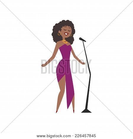 African American Jazz Singer, Beautiful Woman In Purple Dress Singing Vector Illustration Isolated O