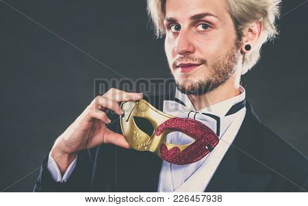 Holidays, People And Celebration Concept. Elegant Young Guy Wearing Suit White Shirt Bow Tie And Car