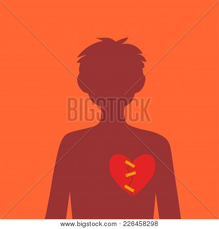 Silhouette Of A Guy With A Broken Heart, Which Is Glued Together With An Adhesive Tape