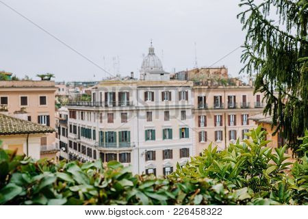 View from the church of Trinita dei Monti at Spanish Steps (Piazza di Spagna). Rome, Italy