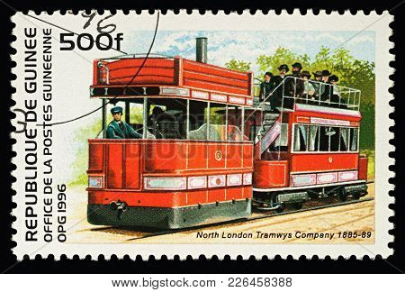 Moscow, Russia - February 13, 2018: A Stamp Printed In Guinea, Shows Old Londoner Tram, North London
