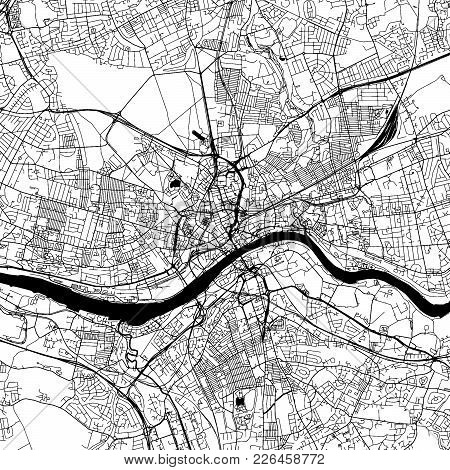 Newcastle Upon Tyne Downtown Map With Many Details For Various Usecases. This Map Of Newcastle Upon