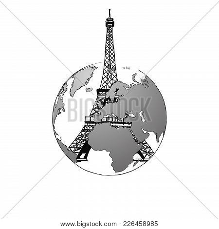 Travel To France. Road Trip. Tourism Sketch Concept With Landmarks. Travelling Vector Illustration.