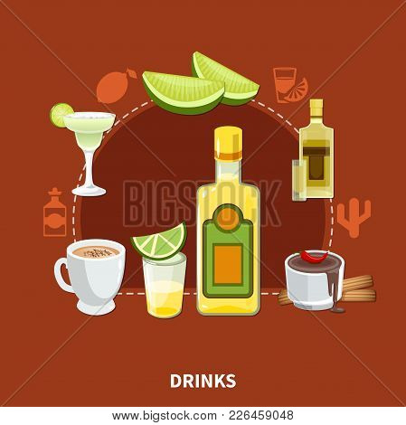 Mexican Drinks Composition On Maroon Background With Tequila, Cocktails, Cocoa With Chili Pepper And