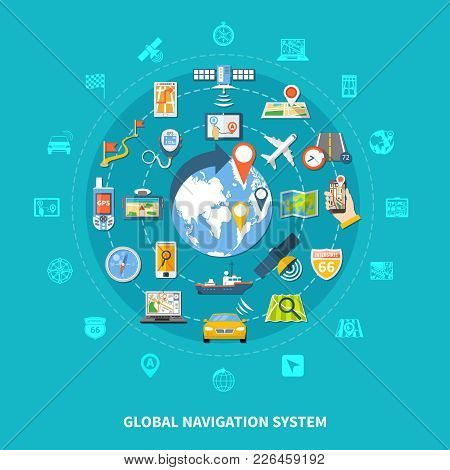 Navigation Round Composition With Set Of Isolated Emoji Style Global Positioning Icons Colourful Ima