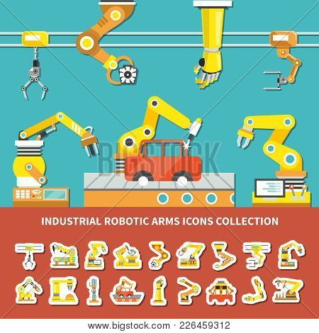 Flat Robotic Arm Colored Composition With Industrial Robotic Arms Icons Collection Description Vecto