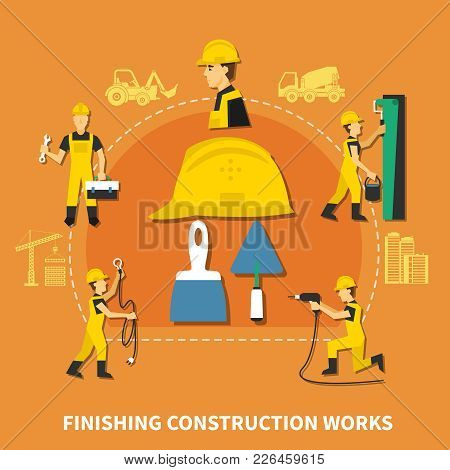 Colored And Flat Construction Worker Composition With Finishing Construction Works Steps Description