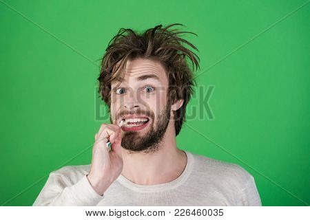 Happy Man With Beard Grooming On Green Background. Morning Washing, Wake Up, Everyday Life. Hygiene,