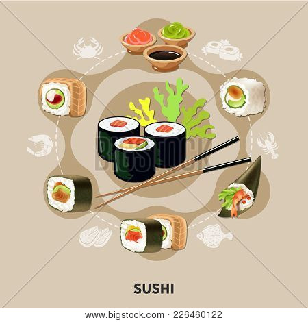 Flat Sushi Composition With Different Types Of Sushi Or Rolls Arranged In A Circle Vector Illustrati