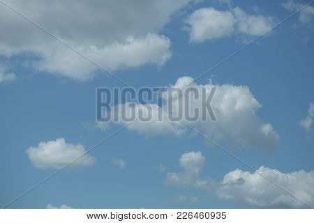 Blue Sky With White Clouds. Meteorology, Weather, Climate. Cloudscape, Condensation, Cumulus. Nature