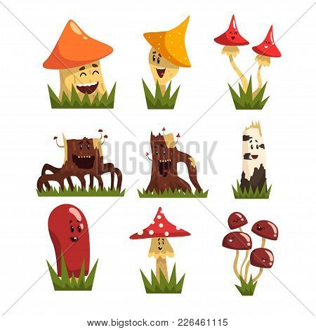 Funny Mushrooms Characters With Colorful Caps Set, Cute Humanized Mushrooms And Stamps With Smiling
