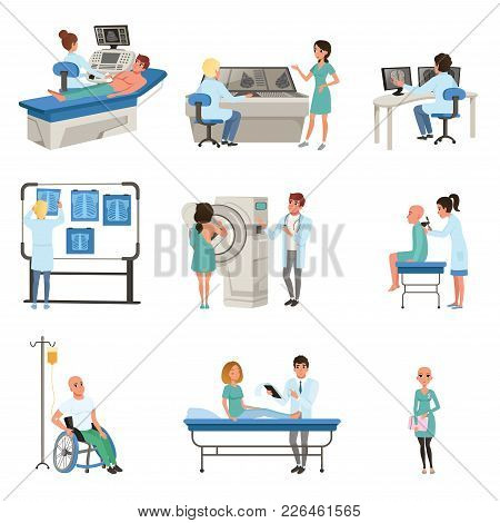 Diagnostic And Treatment Of Cancer Set, Doctors, Patients And Equipment For Oncology Medicine Vector