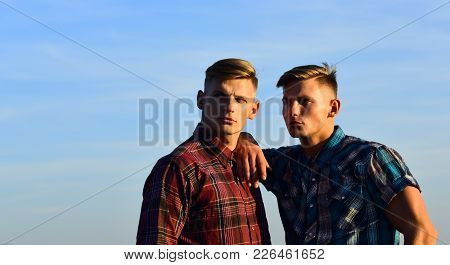 Fashion For Men, Summer. Men Twins In Sunset Or Sunrise, Friendship. Man Twins With Athletic Body, F
