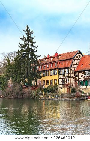 Bamberg City Center View With River, Half-timbered Colorful Houses On Water, Germany
