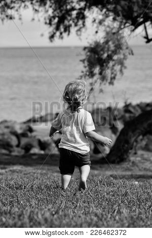 Cute Baby Boy With Blond Hair Ponytail In Blue Tshirt And Shorts Runs Barefoot On Green Grass By Sea