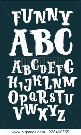 Vector Cartoon Illustration Of Hand Drawn Brush Ink In White Abc Letters Set On Black Background. Ha