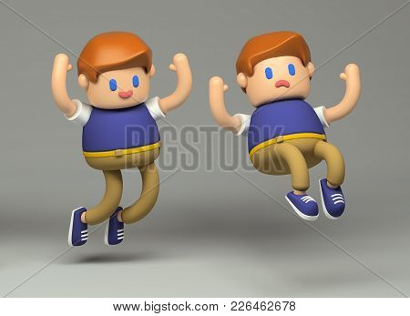 3d Bouncing and stumbling boy toy character. Little cute figure on a gray background  with realistic