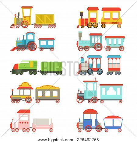 Toy Trains Set, Colorful Locomotives And Wagons Vector Illustrations On A White Background