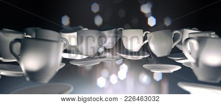 3d Lots Of Coffee Cups Floating In Zero Gravity. Dark Abstract Background With Blurred Lights , Boke