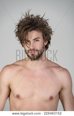 Sleepy Man With Beard On Grey Background. Barber And Hairdresser, Male Fashion. Man With Disheveled