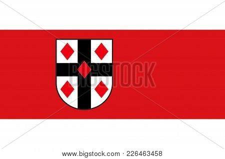 Flag Of Ruethen Is A Town In The District Of Soest, In North Rhine-westphalia, Germany. Vector Illus