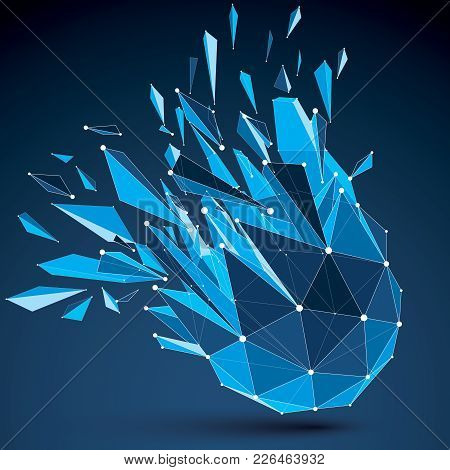 3d Vector Digital Wireframe Spherical Object Broken Into Different Particles And Fragments, Geometri