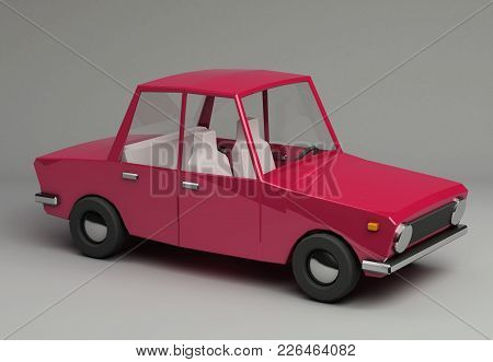 3d Funny Retro Styled Red Car. Glossy Bright  Vehicle On Grey Background With Realistic Shadows. Thr