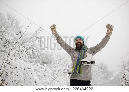 Temperature, Freezing, Cold Snap, Snowfall. Man In Thermal Jacket, Beard Warm In Winter. Skincare An