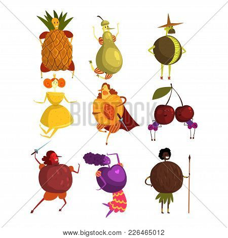 Funny Fruits Cartoon Characters Set, People In Fruit Costumes Vector Illustrations On A White Backgr